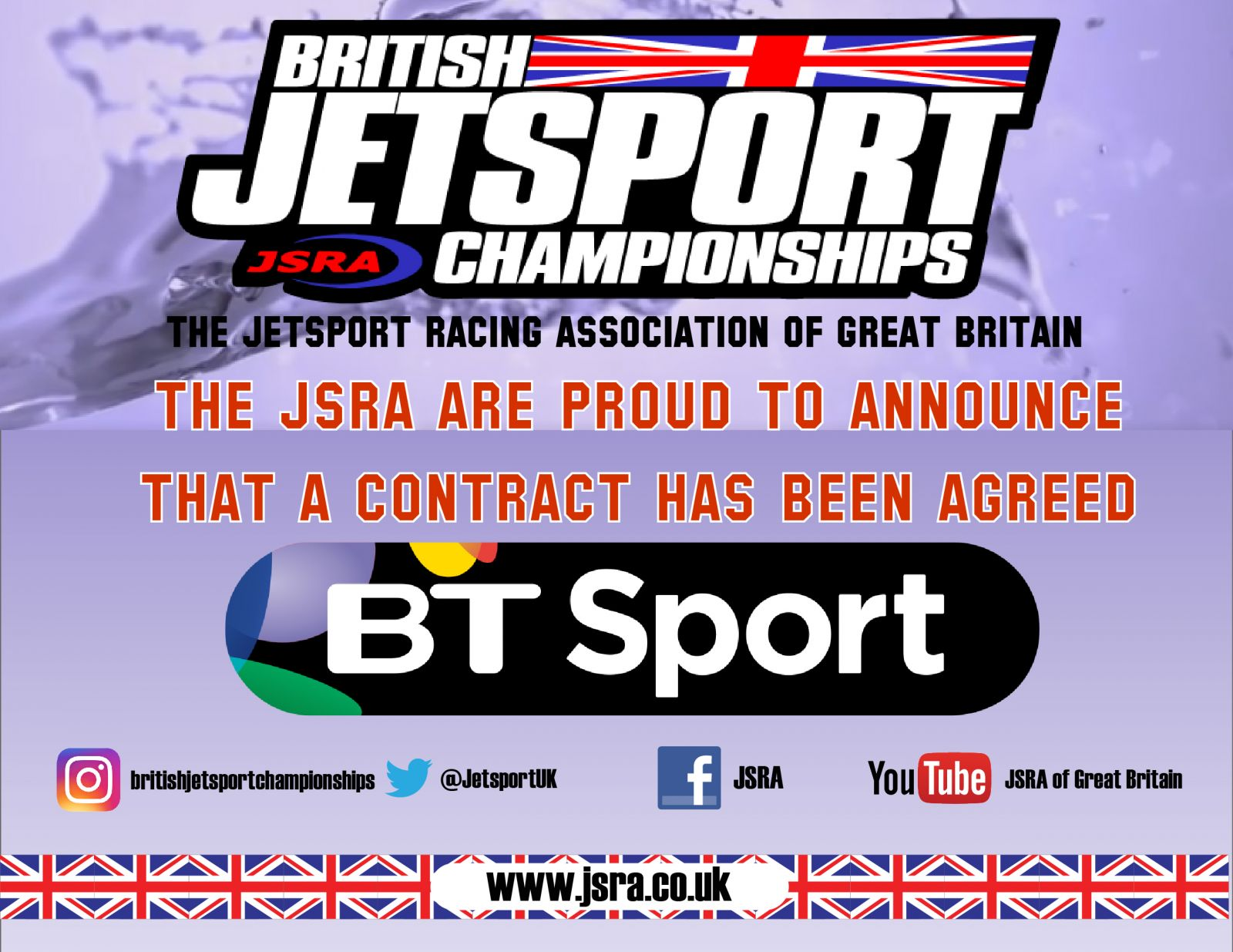 The JSRA are pleased to announce a TV deal with BT sport