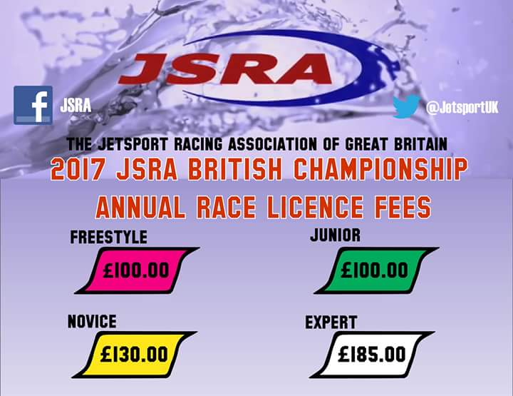 2017 British Championship race licence fees.