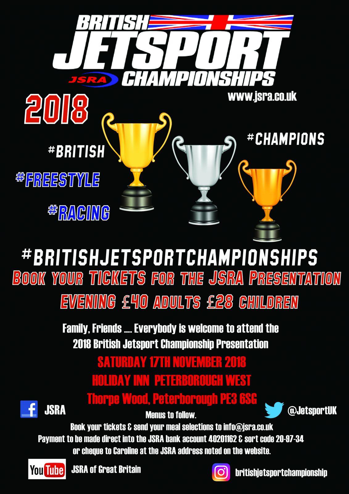 JSRA British Jetsport Championships 2018 Presentation Evening Dinner