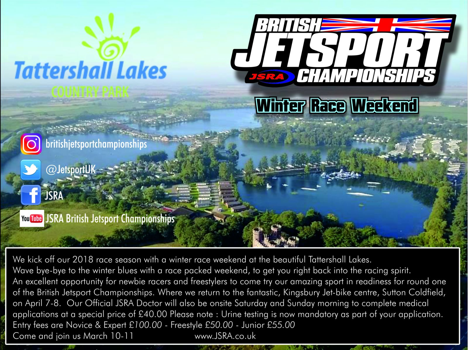 2018 British Jetsport Championships Winter Round & Race Entry Fees